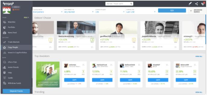 Copy Trader eToro Platform