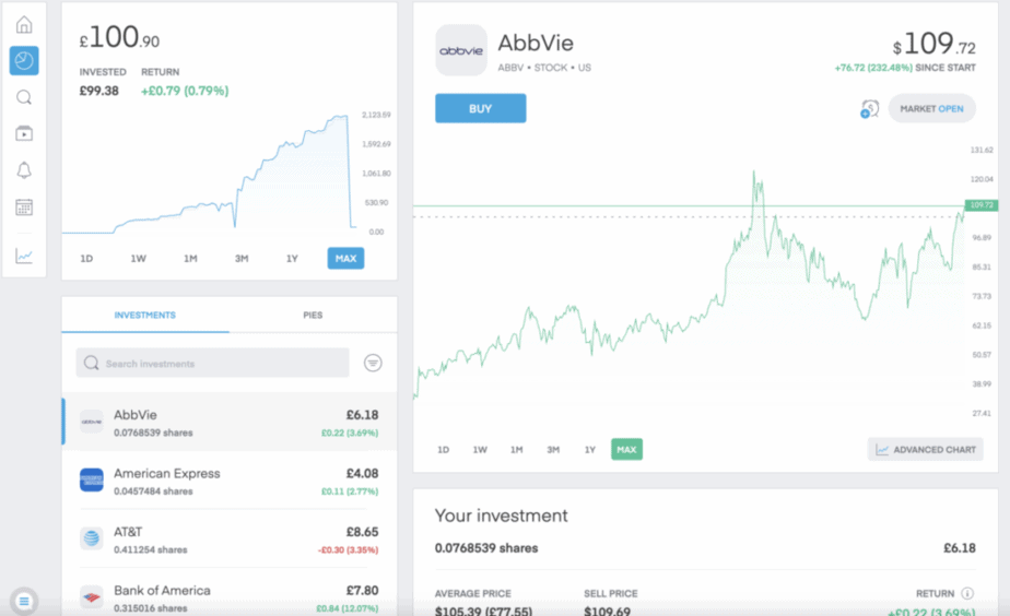 Trading 212 Investment Screen